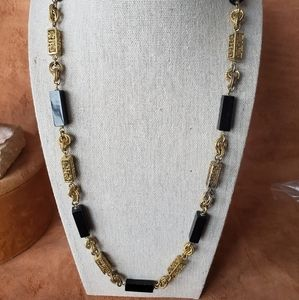 Asian style gold and black stone necklace